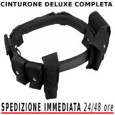Cinturone Militare DELUXE nero COMPLETO di Accessori Polizia Vigilanza Sicurezza