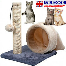 Blue Cat Kitten Play Sisal Scratch Bed Toy Fun Post With Tunnel Pet Activity UK