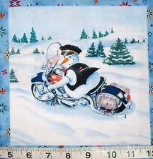 "Motorcycle Snowman Fabric Mini-panel Biker Cop? 7"" Quilt Block Square"
