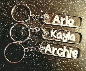 hand made personalised engraved acrylic key ring any name