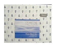 300TC Twin Sheet Set White and Navy Coastal Life Natural Luxurious Cotton Anchor