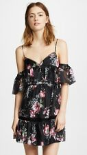 Talulah belonging mini black & fuchsia floral ruffled romantic dress size L
