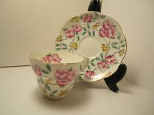 """FOLEY ENG CHINA TEA CUP & SAUCER PINK & GREEN """"SPRINGDALE""""  EXCELLENT CONDITION"""