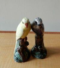 More details for quail ceramics, novelty budgerigar salt & pepper shakers, violet & yellow