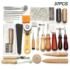 37Pcs Leather Craft Tools Sewing Stitching Punch Carving Work Saddle Groover Kit