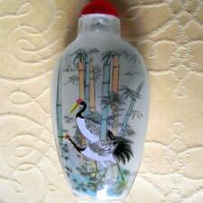 More details for oriental crane fine detailed reverse inside hand painted snuff bottle d