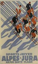 Sports D'hiver Ski Poster Fine Art Lithograph Eric de Coulon S2