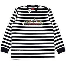 NWT Supreme NY Men's Striped Flags Logo Embroidered LS T-Shirt FW19 L AUTHENTIC