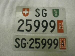 2X SWITZERLAND ST GALLEN WITH COUNTRY & CANTON SHIELD # SG-25999 LICENSE PLATES