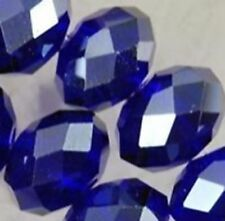 Wholesale Faceted Crystal Loose Charm Glass Beads Blue 6*8mm 70pc