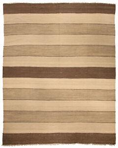 Natural Flat-Weave Rug in Beige and Brown Stripes N10303