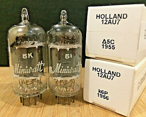 NOS Pair 1950's Philips Holland 12AU7 AVO Tested 100%+
