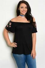 NEW..Stylish Plus Size Black Off The Shoulder Top with Flower Motif..SZ18/2xl