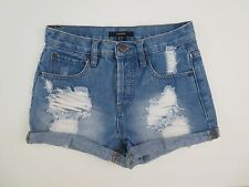 Forever 21 Womens High Rise Destroyed Shorts Size 24 Holes Cuffed