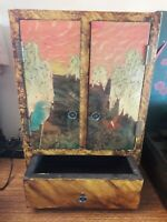 Asian Antique 35cms Miniature Wooden Marquetry Door Cabinet With Drawer VGC