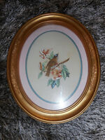"""Vintage Home Interiors Oval Bird Picture~Oval~ Gold Frame 11"""" X 9"""" HOMCO"""