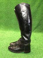 Vintage Handmade USA Womens 7.5 BLACK TALL EQUESTRIAN Leather RIDING DRESS BOOTS