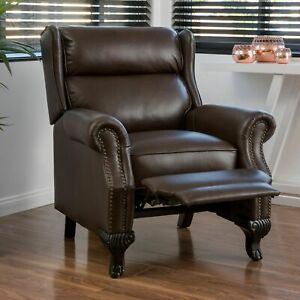Curtis Dark Brown Leather Recliner Club Chair