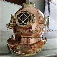 Antique Copper Solid Brass Full size Divers Diving Helmet Scuba US Navy Mark V