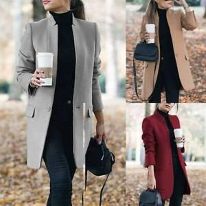 Women Blazer Overcoat Trench Coat Outwear Cardigan Winter Office OL Long Jacket