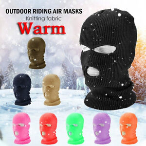 Unisex 3-Hole Knitted Face Cover Winter Balaclava Warm Knit Full Face Mask MA