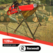 More details for log saw horse holder rocwood metal folding wood with pivoting chainsaw clamp
