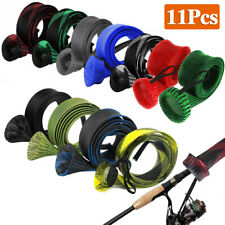 11Pcs Fishing Rod Sleeve Braided Pole Protetor Cover Gloves Casting Spinning Rod