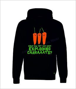 Bottom Hoodie Exploding Carrots Rik Mayall inspired mens Clem Wear® Young Ones