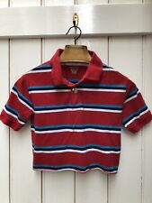 Urban Renewal 90s Red Blue Striped Cropped Polo Shirt Top