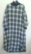 Vintage LL Bean Green, White, Blue, Yellow Plaid Flannel Night Gown, Size L