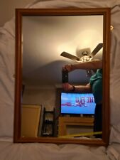 Large Natural Brown Wooden Framed Mirror - 59 cm x 84 cm - Good Quality