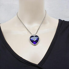 Graceful Blue Crystal Pendant Necklace Titanic Heart Of The Ocean Necklace