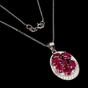 Oval Red Ruby 6x4mm Cz 14K White Gold Plate 925 Sterling Silver Necklace 18 Ins