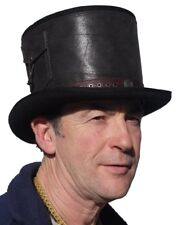High quality 100% wool felt leather strapped large steam punk top hat
