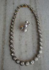 18k Gold Rosecut Diamond Handmade  Polki Necklace Earrings Jewelry