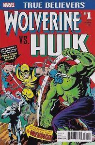 True Believers WOLVERINE VS INCREDIBLE HULK #1 (Reprint / 181 / 1974 / NM)