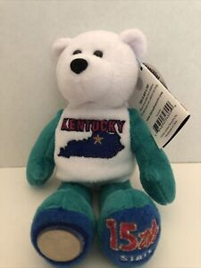 """KENTUCKY State Quarter Coin Bear, KY 15th state. Plush 8"""" Limited Treasures, NWT"""