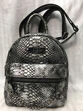 BCBG Paris Main St Petite Backpack Small Metallic Snake Silver Purse Handbag NEW