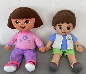 "24"" Large Dora The Explorer & Diego Plush Stuffed Dolls 2006 Fisher Price Toys"