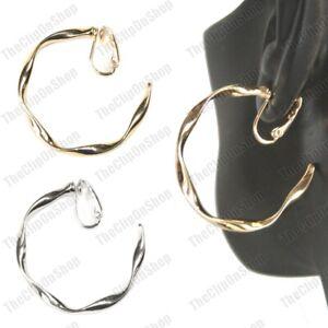 CLIP ON 4cm wavy HOOP EARRINGS gold/silver fashion HOOPS clips non-pierced ears