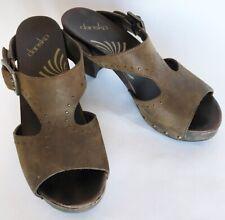 Dansko RIPLEY Brown Studded Leather Slip On Sandals Clogs EU 39 US 8.5 - 9 Heels