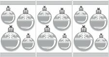 CHRISTMAS ORNAMENTS 12 Wall Decals Silver Snowflake Balls Room Decor Stickers