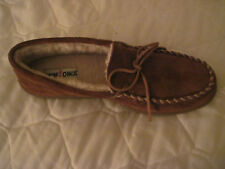 MINNETONKA SUEDE PILE LINED MOCCASINS - BROWN - MENS 12 MEDIUM