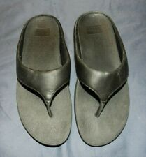 Women's Fitflop Ringer Black Leather Thong Sandal, Size 9