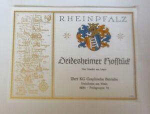 Weinetikett, Deidesheimer Hofstück, Steinheim am Main,  ca. 1960 ♥