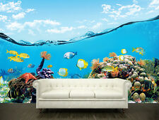 Wall removable sticker mural underwater 3.3'x10.2' (102x312cm)