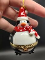 PENGUIN Ceramic Hinged Trinket Box CHRISTMAS ORNAMENT Black Red White