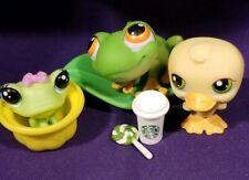 2004 Littlest Pet Shop Pet Pairs #50 Green Orange Frog Prince #51 Yellow Duck