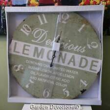 "GIANT 22"" LEMONADE KITCHEN CLOCK HUGE XL LARGE Vintage Look  WOOD ~ Nice!"