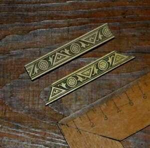 2x brass line bookbinding Art Nouveau gilding bookbinder embossing stamp border.